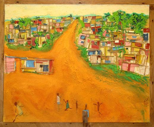 joie, Afrique, désert, case, village, paysage, enfants, tribu, tableau, peinture, Lesenfans, art contemporain