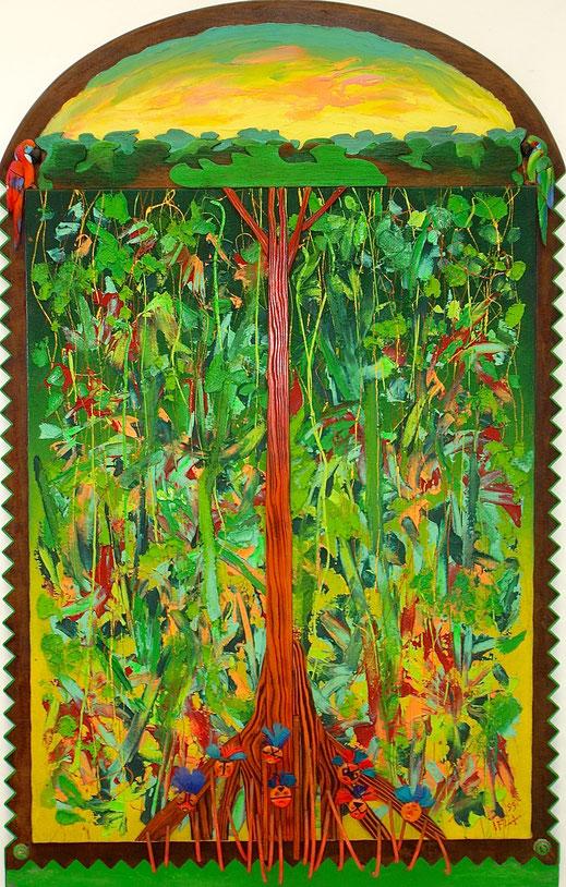 forêt, tribu, indigènes, indiens, nature, primitif, peinture, art contemporain, Lesenfans, tableau