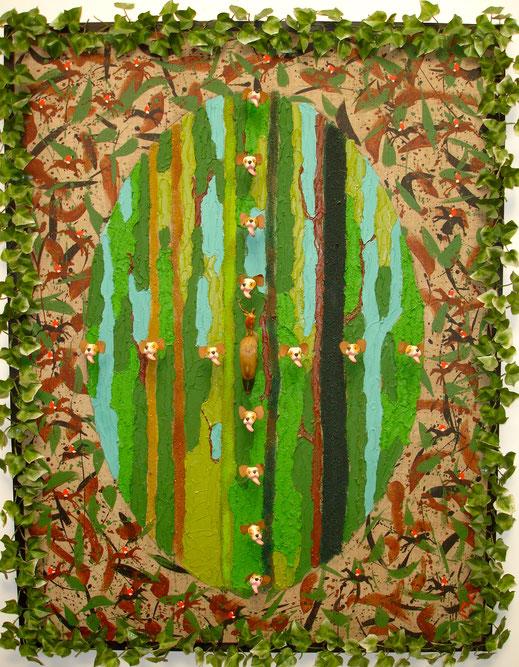 chiens, chasse, forêt, fusil, chasseur, les bois, la nature, militaire, armée, peinture, art contemporain, tableau, Lesenfans