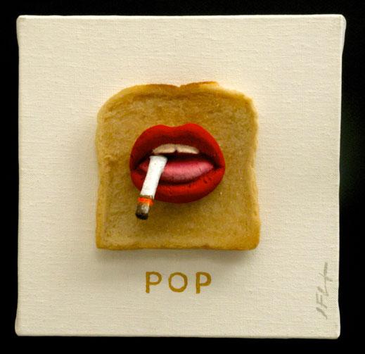 Rolling stones, bouche, mouth, clope, fumer, cigarette, pop, rouge à lèvres, lèvres, peinture, art contemporain, Lesenfans, oeuvre