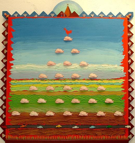 campagne, coq, poulet, poule, voiture, route, peinture, art contemporain, tableau, Lesenfans