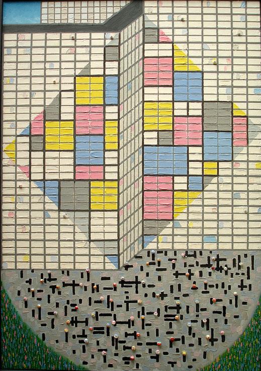 immeuble, danseur, rap, hip hop, building, Mondrian, carreau, peinture, art contemporain, Lesenfans tableau