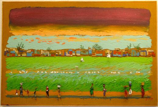 savane, femmes africaines, Afrique, paysage, prairie, coucher de soleil, peinture, tableau, art, Lesenfans