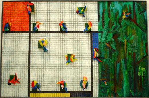 Mondiran, forêt, perroquet, peinture, tableau, art contemporain, Lesenfans