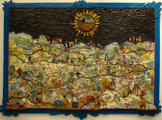 paysage, Afrique, goudron, tableau, peinture, art contemporain, Lesenfans