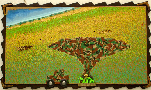 savane, militaire, chasse, voiture, Afrique, panthère, prairie, peinture, art, contemporain, Lesenfans, tableau