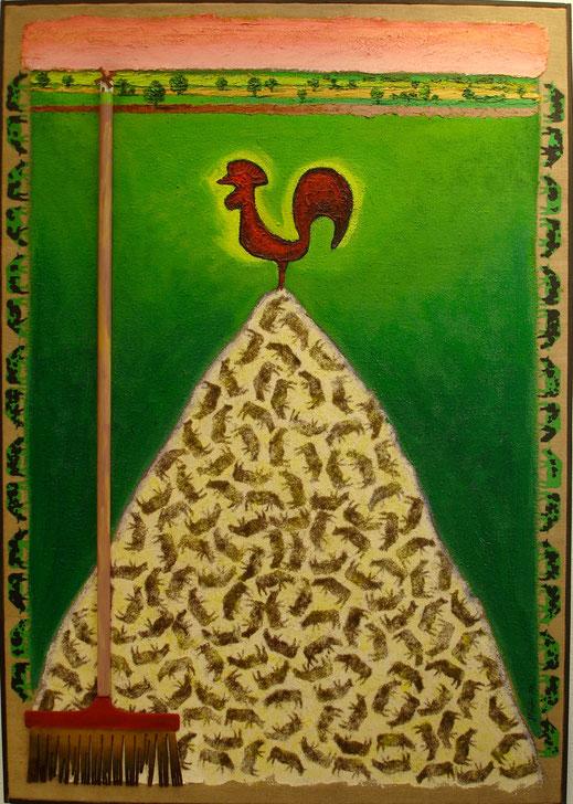 coq, campagne, prairie, boeufs, balai, herbe, peinture, art contemporain, tableau, Lesenfans