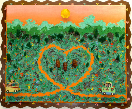 forrêt, savane, Afrique, voiture, camionnette, van, coeur, soleil, tête de nègre, africain, noir, tableau, peinture, art contemporain, Lesenfans