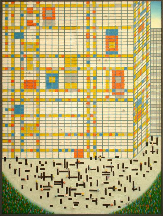 Mondrian, immeuble, peinture, art contemporain, building, Lesenfans, tableau, herbe