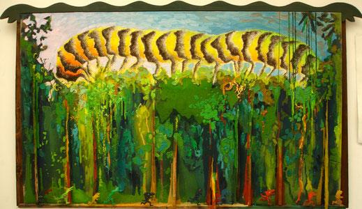 chenille, bois, forêt, tropical, Amazonie, peinture, art contemporain, tableau, Lesenfans