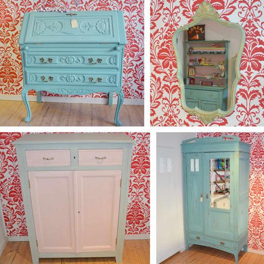 Man sieht wunderschöne Möbel von Nouvelle-Antique in Aachen, die mit Kreidefarbe von Annie Sloan gestrichen wurden