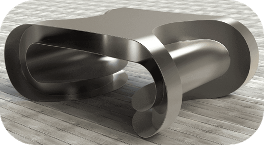 Table basse contemporaine en acier inoxydable (inox), table de luxe fabriquée en France.