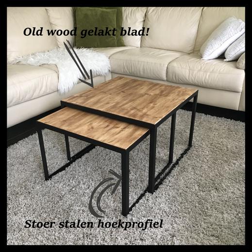 Salontafel van staal en hout