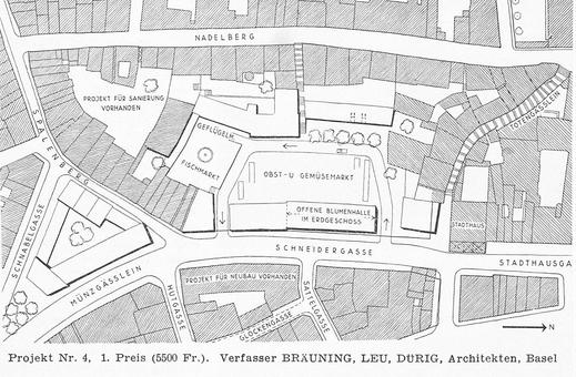 """Basel 1950, Talentlastungsstrassen-Bauprojekte: ein Plan aus """"Schweizerische Bauzeitung"""" vor dem Abriss"""