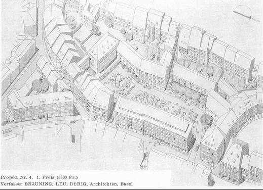 """Basel 1950, Talentlastungsstrassen-Bauprojekte: ein Plan aus """"Schweizerische Bauzeitung"""" des Abrisses von Bauten (darunter der Andreasplatz)"""