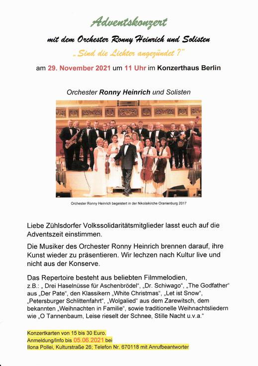 Adventskonzert mit dem Orchester Ronny Heinrich und Solisten am 29. November 2021