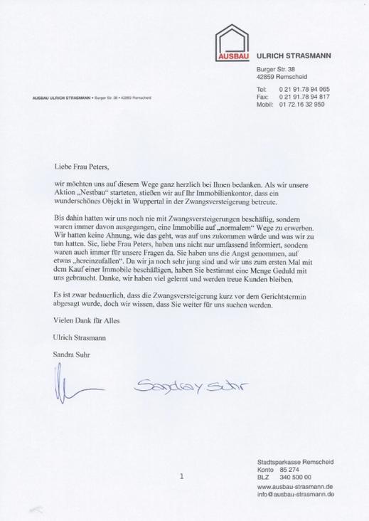 Referenz Strasmann für unsere Beratung im Thema Zwangsversteigerung