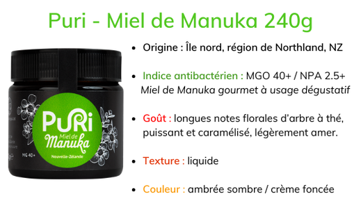 Puri - Miel de Manuka 240g description origine Northland