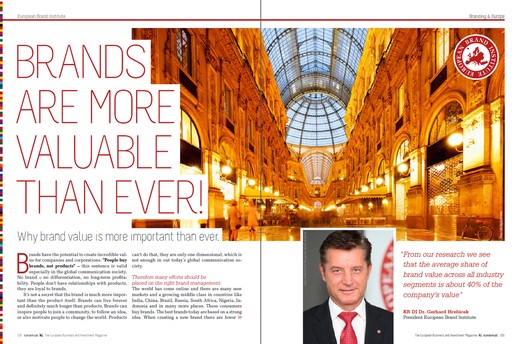 expert article, Dr. Gerhard Hrebicek, European Brand Institute, European brands, brands, brand value