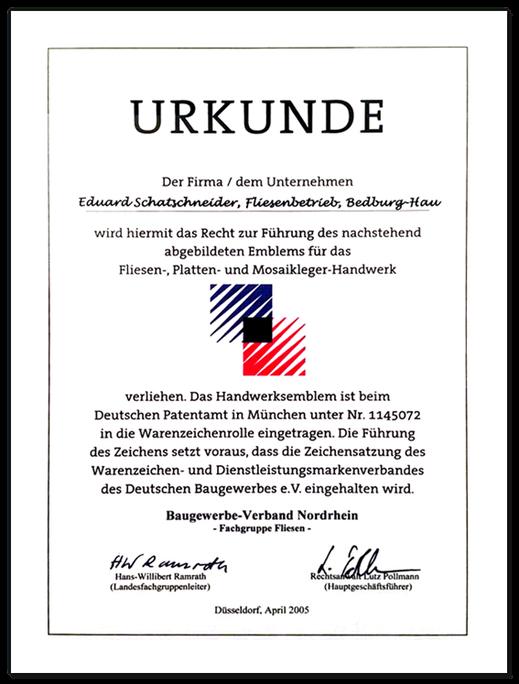 Urkunde des Baugewerbe-Verband Nordrhein zur Führung des Emblems für Fliesen-, Platten- und Mosaikleger-Handwerk.