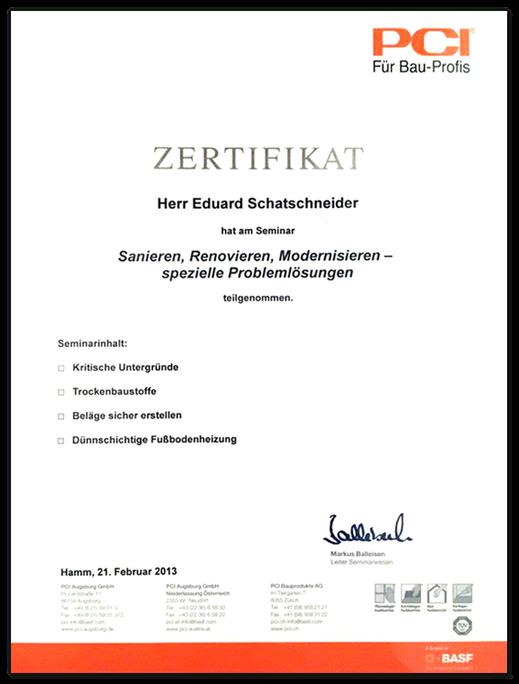 Zertifikat der PCI Bauprofis für Herrn Schafschneider im Bereich Sanieren, Renovieren, Modernisieren.