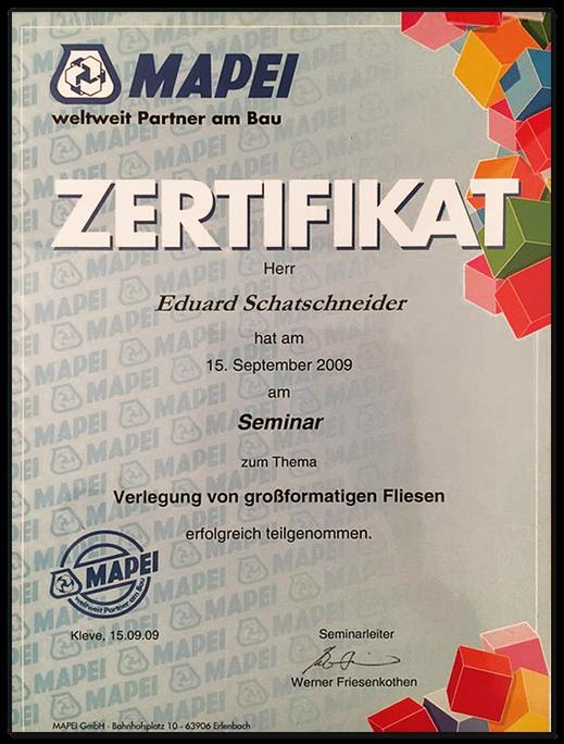 Zertifikat der Firma Mappen an Herrn Schafschneider für Verlegung von großformatigen Fliesen.