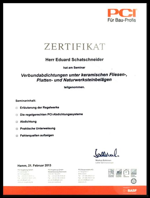Zertifikat der PCI Bauprofis für Herrn Schafschneider im Bereich Verbundabdichtungen für keramische Fliesen.