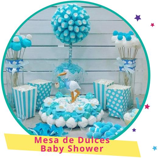 mesa de dulces de baby shower para niño