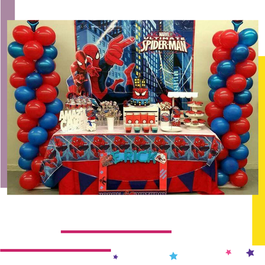 mesa de dulces de spiderman