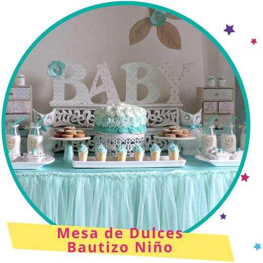 mesa de dulces de bautizo para niño