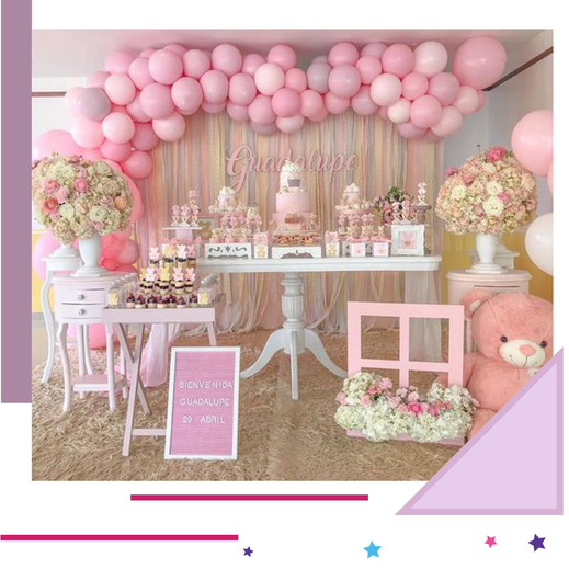 mesa de baby shower para eventos