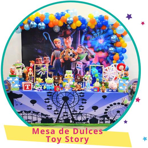 decoración para mesa de dulces de toy story