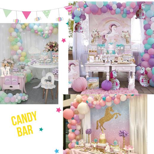 diseños de mesas de dulces de unicornio