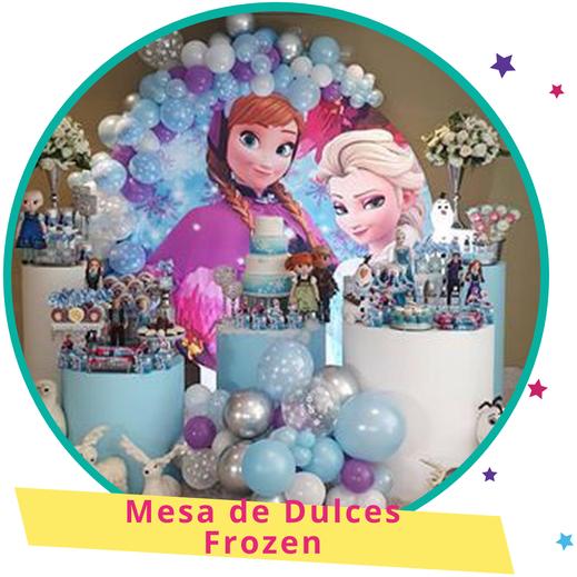 decoración de mesa de dulces de frozen