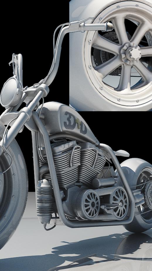Modelado diseño moto, render 3d max, vray