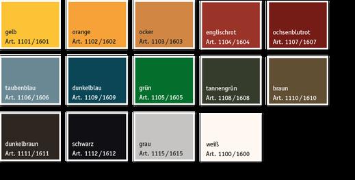Kreidezeit, Standölfarbe, Farbtöne