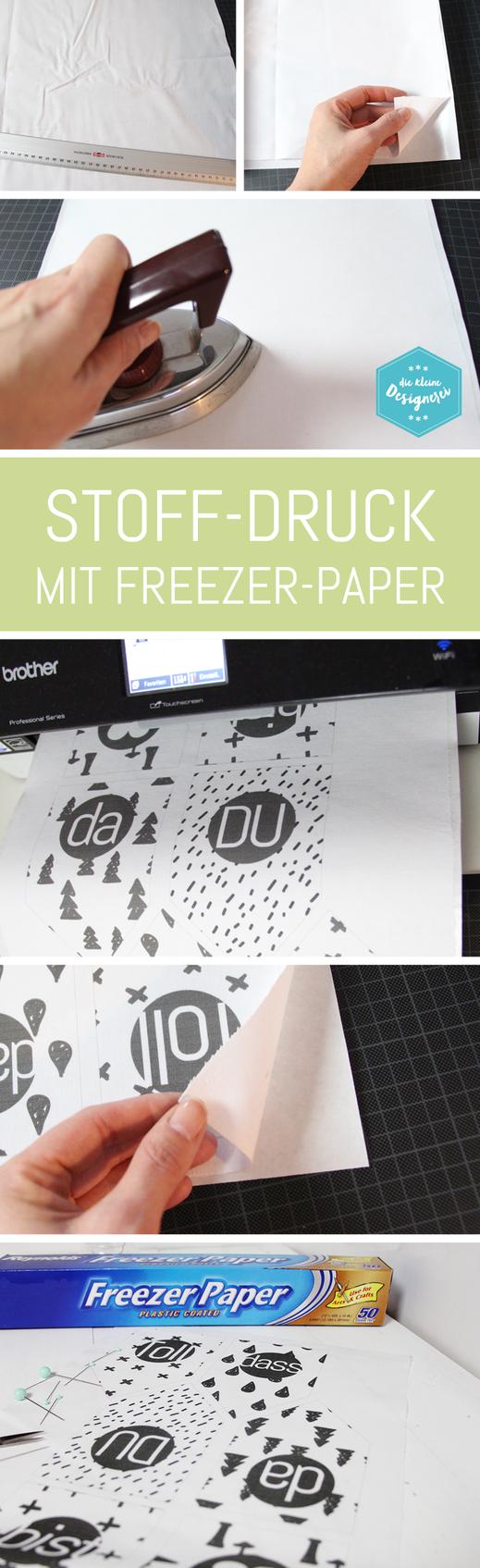 Stffdruck mit Freezer Papier, so geht es ganz einfach: nachlesen und mit dem Tintenstrahldrucker bedrucken auf www.die-kleine-designerei.com