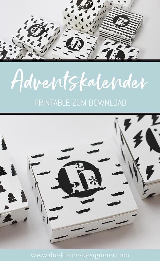 Adventskalender selber basteln: Ausdrucken, schneiden, zusammenkleben und dann nur noch befüllen. www.die-kleine-designerei.com