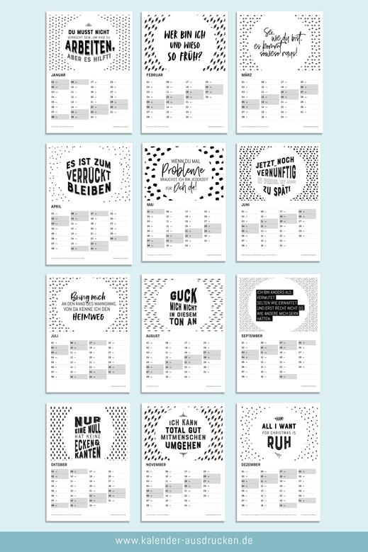 Kalender zum Ausdrucken, in schwarz-weiss, mit Möglichkeit zum Eintragen von Terminen, mit Anzeige der Kalenderwochen, Wochentagen und Feiertagen. www.kalender-ausdrucken.de