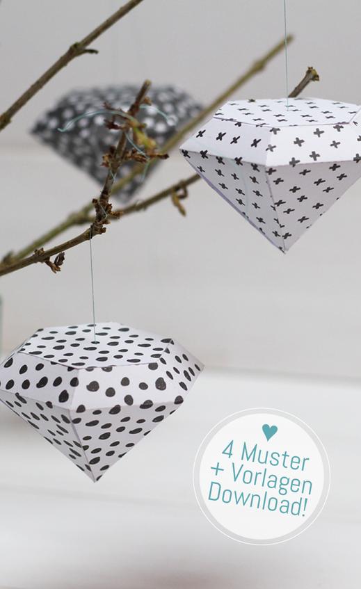Anleitung zum Basteln von Papier-Diamanten mit Muster. Vorlage www.minieco.co.uk, Muster und Anleitung zum download www.die-kleine-designerei.com