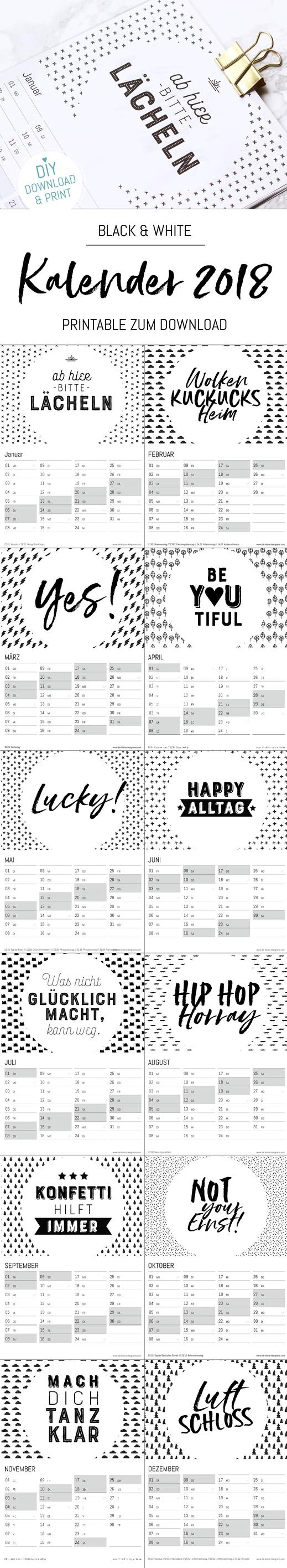 Wandkalender 2018, downloaden, ausdrucken und aufhängen. Jetzt mit Ferienkalender und ewigen Geburtstagskalender, auf www.die-kleine-designerei.com