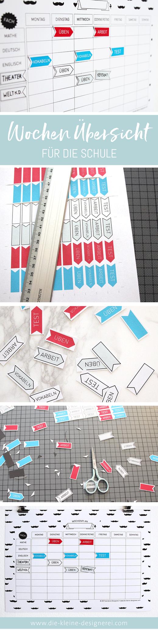 Damit du den Überblick in der Schule behälst: Wochenplaner auf Magnetfolie für Inkjet ausdrucken, ausschneiden und fertig. Jetzt downloaden auf www.die-kleine-designerei.com