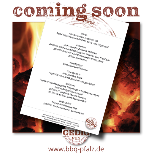 Bild Facebookpost Menükarte coming soon Andreas Gedig BBQ und Fun Bad Dürkheim