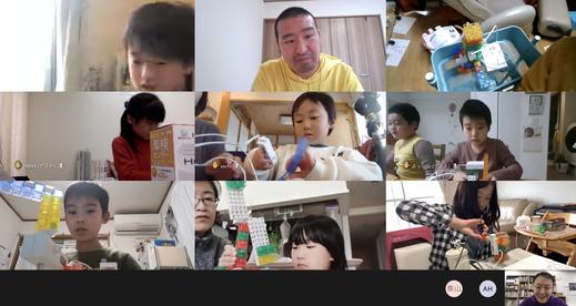 オンラインワークショップでは、青森の子が「ここ動かないんだけど、なんでだと思う?」と福岡の子に話しかける場面も。