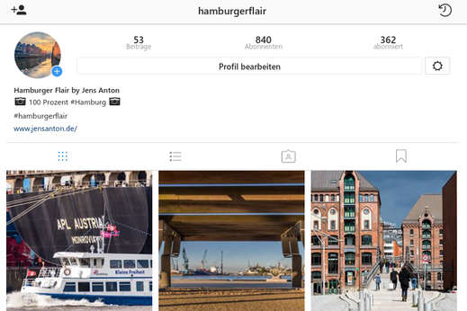 Screenshot meines Account hamburgerflair bei Instagram