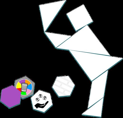 Le Tangram et 4 cartes hexagonales - https://www.tangram-champions.com