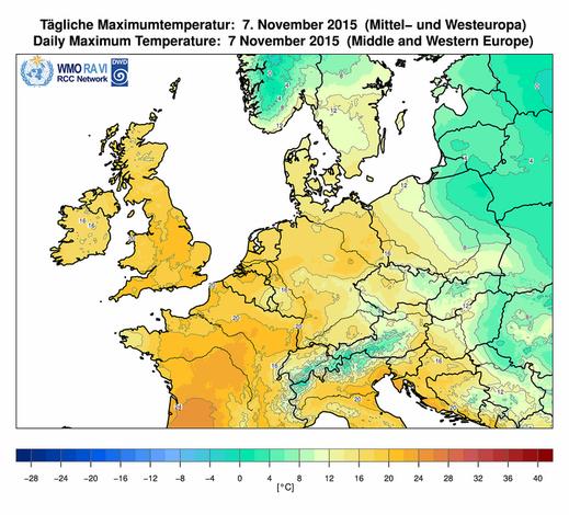 Abb. 1 | Höchsttemperaturen am 07.11.2015 | Bildquelle: Deutscher Wetterdienst
