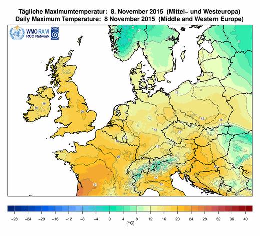 Abb. 2 | Höchsttemperaturen am 08.11.2015 | Bildquelle: Deutscher Wetterdienst