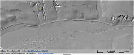 Nordwestlich von Partz sind Feldterrassen im Hügel erkennbar - sie dienten vermutlich dem Weinbau