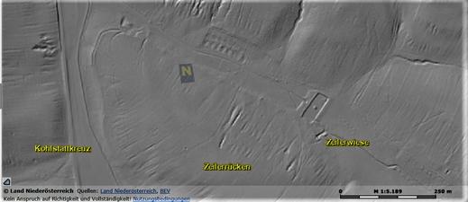 Die Siedlung auf der Zeilerwiese - mit Laserscan (oben) und via Luftbild (unten)